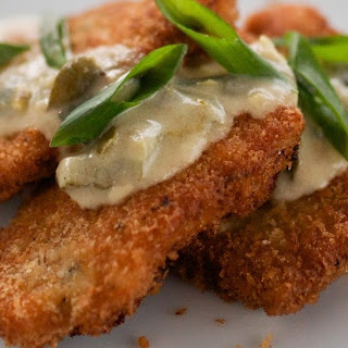 Crumbed Pork Cutlets with Creamy Jalapeno & Green Onion Sauce