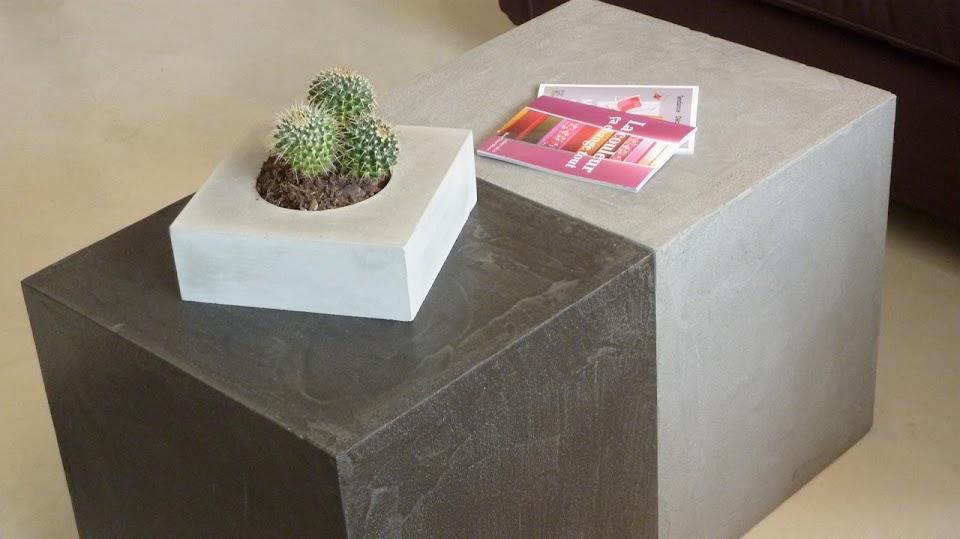 Le souhait de notre client était d'avoir deux cubes amovibles en béton ciré