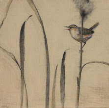 """Photo: """"Wren and Cattails"""" ©2011 LMcNee 12x12"""" mixed media on board"""