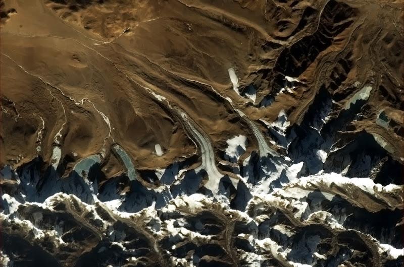 Photo: Glacier tongues in the Himalayas.