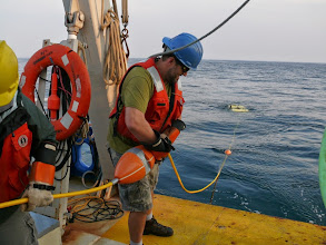 Photo: The yellow tether seen here functions as an umbilical lifeline to the ROV for power, video and communications subsea (Image courtesy of Gulf of Maine Deep Sea Coral Science Team 2014/NURTEC-UConn/NOAA Fisheries/UMaine)