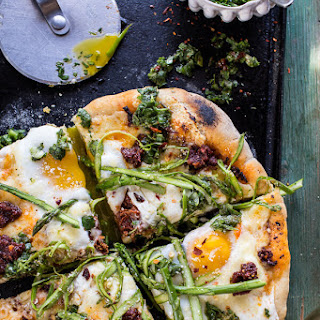 Springtime Pizza with Chipotle Romesco, Eggs + Shaved Asparagus Salad..