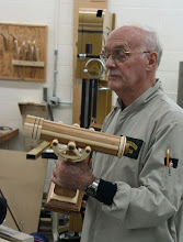 Photo: Jim Duxbury is an expert kaleidoscope maker. Here he is with one of his fancy versions with an elaborate mounting.
