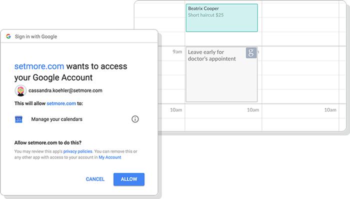 The Google authorize window.