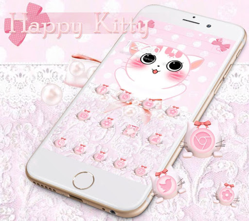 Happy Pink kitty Theme for PC
