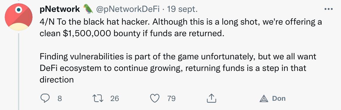 Publication Twitter de pNetwork proposant une récompense d'1,5 million de dollars au hacker en l'échange des fonds dérobés
