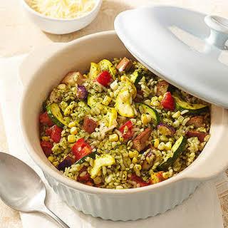 Vegetable-Pesto Risotto Casserole.
