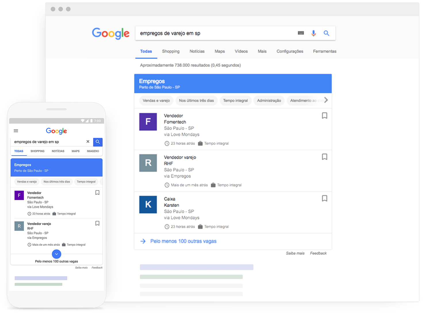 Faça com que seus anúncios de emprego sejam encontrados por milhões de candidatos que pesquisam no Google todos os dias.