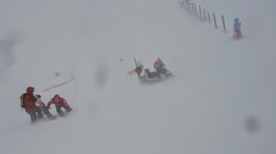 Photo: Snow-mobile had been blown over!