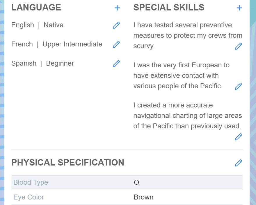 Screenshot of Martide website showing the language and skills sections