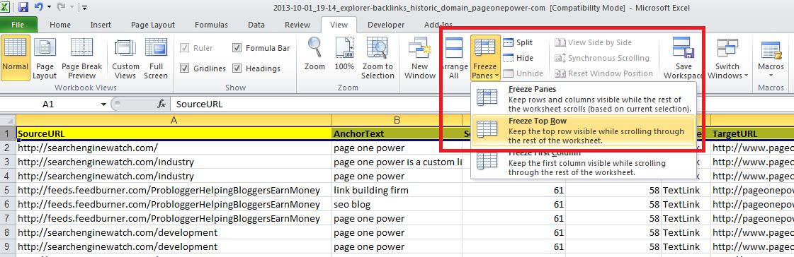 backlink report formatting