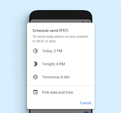 An Android device displaying a pop-up that enables the user to schedule a text.