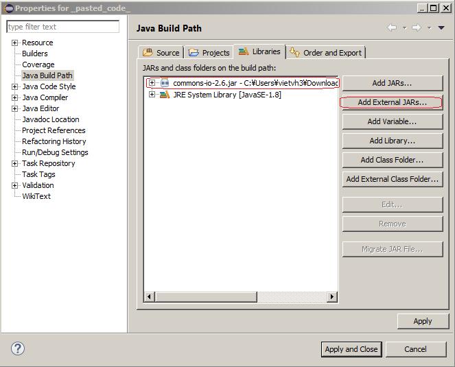 Configure sử dụng Apache common io