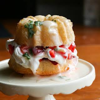 Strawberry Basil Angel Food Cake.