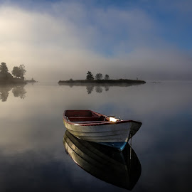 Calmness by Espen Rune Grimseid - Landscapes Waterscapes ( fog, silence, reflections, lake, sunrise, light, norway,  )