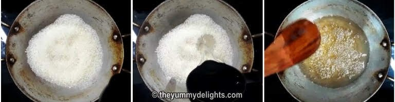 preparing sugar syrup for making besan burfi recipe