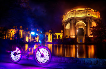 Photo: Temple Arcanist While wandering the streets of San Francisco, looking for stuff to shoot, +sly vegas and I came across this girl on a burningman-esque bike which was lit up really cool. She was nice enough to let us set up a couple of shots in front of the Palace of the Arts.