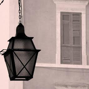 the old window by HelLag Helena Lagartinho - City,  Street & Park  Street Scenes ( window, shadow, street, lamp, wall )