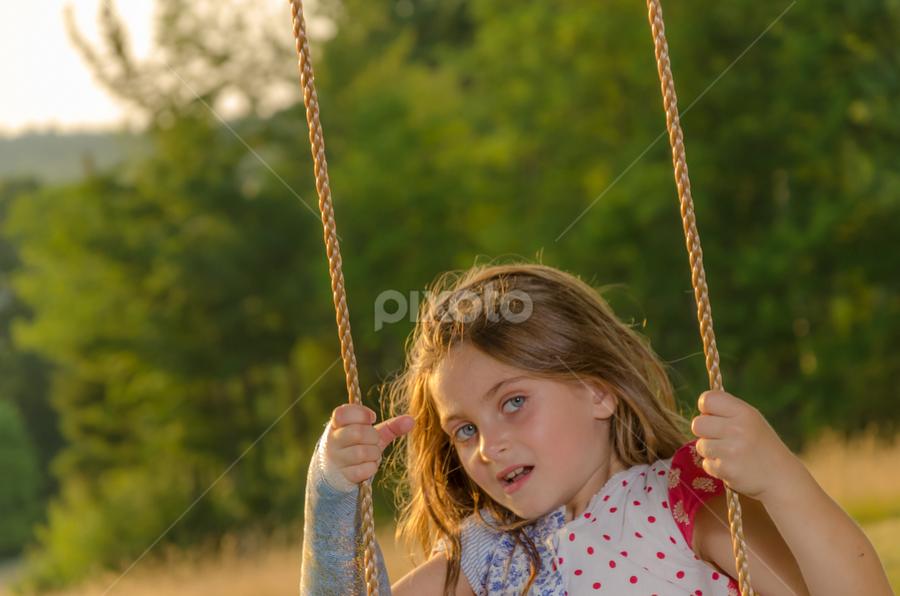 Golden Girl by Chris Cavallo - Babies & Children Child Portraits ( swing, golden hour, girl )