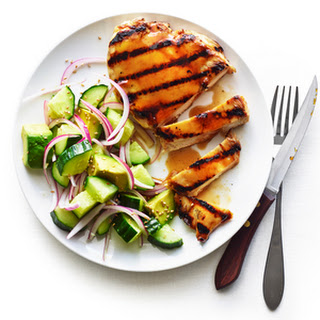 Yakitori Chicken Paillard with Cucumber Avocado Salad