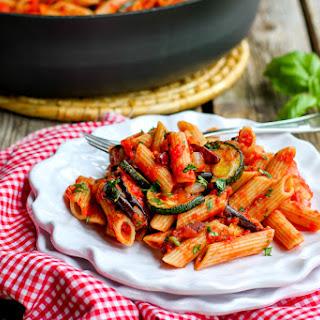 Roasted Zucchini & Eggplant Puttanesca Pasta