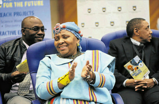CRITICAL SKILLS: Defence Minister Nosiviwe Mapisa-Nqakula at the University of Fort Hare (UFH) to drum up motivation to study mathematics. UFH and Armscor's partnership was lauded at the event. Picture: RANDELL ROSKRUGE
