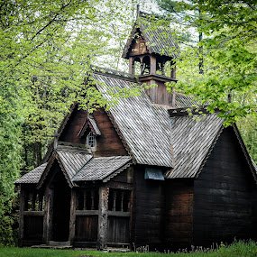Boynton Chapel in Bjorklunden, WI by Maria Sicilian - Buildings & Architecture Public & Historical ( stave church, wooden, stave, norwegian, church, bjorklunden, chapel, medieval, woods, scandinavian, froest )