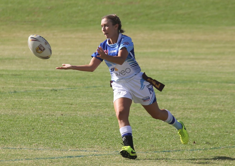 Bluebird Abby McClure throws a pass in her side's 20-10 win against rivals Wee Waa on Sunday afternoon at Collins Park.