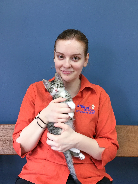 Vet Student Olga holding a very cute tabby kitten