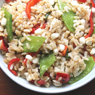 Cold Asian Vegan Rice Salad With Vegetables.