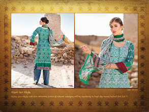 Photo: CODE: 1055 -FABRIC-TOP COTTON-BOTTOM COTTON-DUPATTA CHIFFON . Price : USD 32