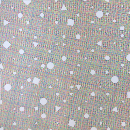 Albert Roskam, Geometrische gaten op een raster op een vlak met een raster in RGB, Tekening, 2020