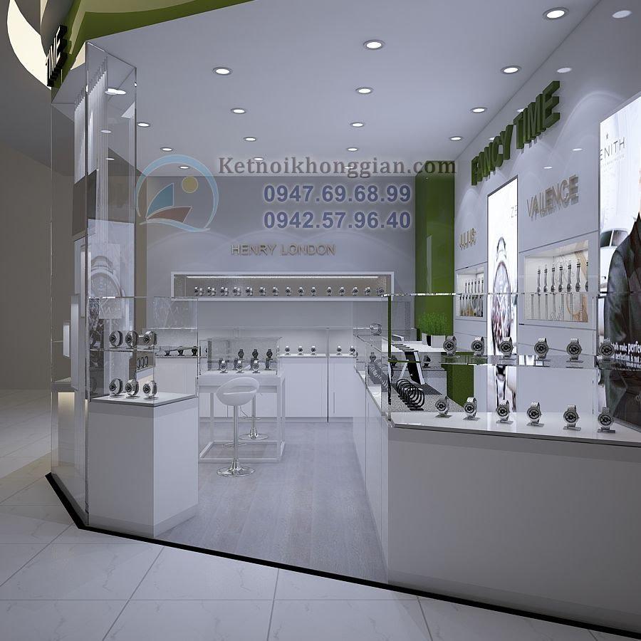 thiết kế gian hàng đồng hồ hiện đại