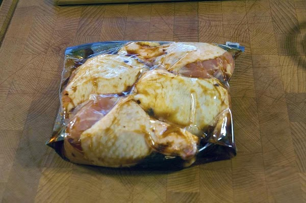 Add the chicken pieces to a Ziploc bag, and add 1/2 of the marinade.