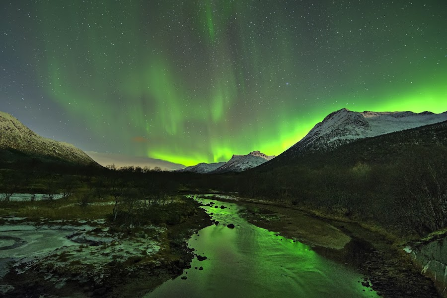 Aurora over godfjord by Marius Birkeland - Landscapes Starscapes ( reflection, mountains, sky, aurora, river )