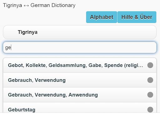 Tigrinya - Deutsch Wörterbuch