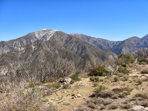 Photo: View north from Sunset Peak toward Mt. Baldy. In front of Baldy is Lookout Mountain (6812'), the site of the first fire lookout in the Angeles National Forest. It was built in 1915 and remained until about 1927 when it was damaged by bad weather.