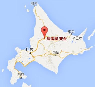 地図:居酒屋天金