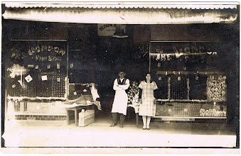 """Photo: David Bookchester and ?. Curiously, """"the London Fruit Store""""."""