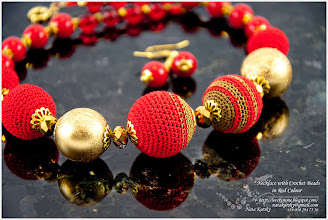 Photo: Necklace with Crochet Beads in Red Colour Намисто з плетених намистин в червоних тонах