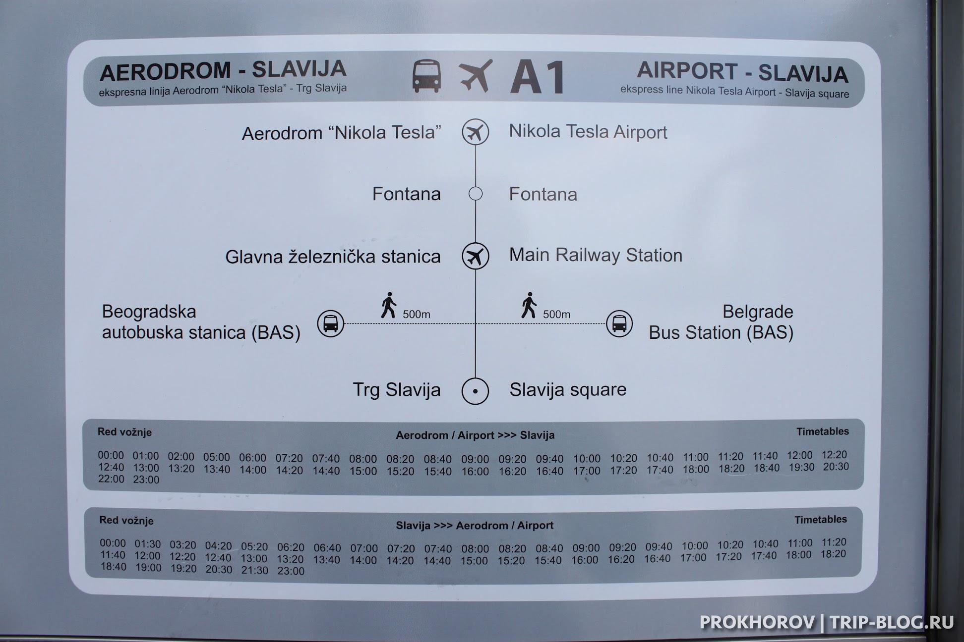Расписание автобуса А1 в Белграде