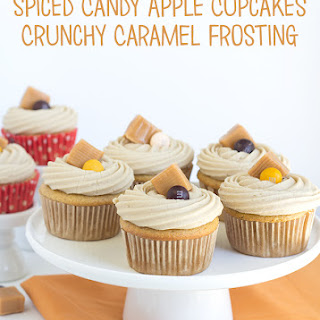 Spiced Candy Apple Cupcake with Crunchy Caramel Frosting