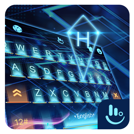3D Blue Neon Future Keyboard Theme