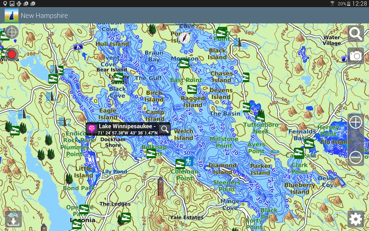 Aqua Map New Hampshire Lakes- screenshot