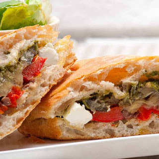 Roasted Vegetable Sandwich with Feta Cheese.