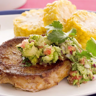Tex-Mex Pork Chops with Guacamole and Corn