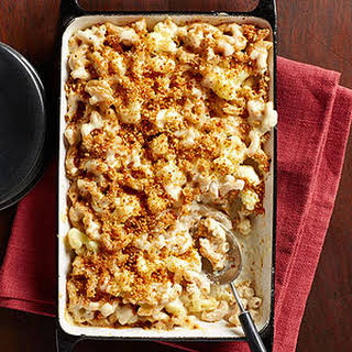 Cauliflower Macaroni and Cheese With Golden Bread Crumbs.