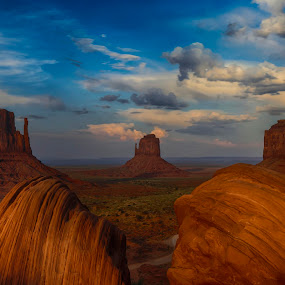The Mittens and the Merrick Butte by Tin Tin Abad - Landscapes Mountains & Hills ( clouds, butte, mesas, sunset, travel, rock formation )