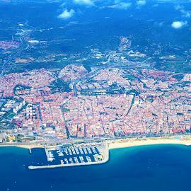 Aerial - Barcelona by Svetlana Saenkova - Landscapes Travel ( blue water, coastline, piers, aerial, water,  )