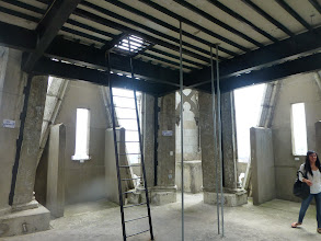 Photo: Inside the bell tower; actual bells are just above via ladder, but access is barred